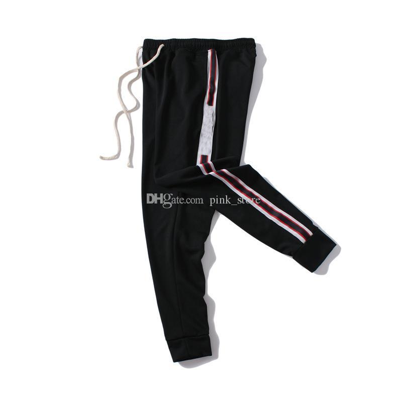 Нового Stretch эластичного Mens Jogger Брюки Новых Фирменная кулиска Спортивные штаны Мода Боковых полосы мода Дизайнерского Joggers Повседневная одежда