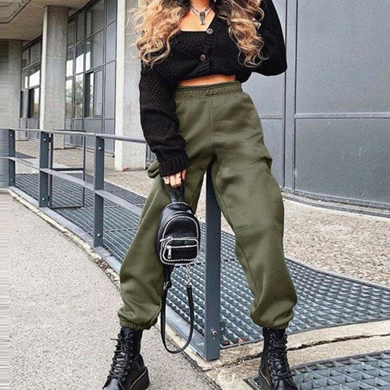 Solid Color Ladies Casual Pants Sports Elastic High Waist Fashion Wild Beam Sports High Quality Trousers EGNR#