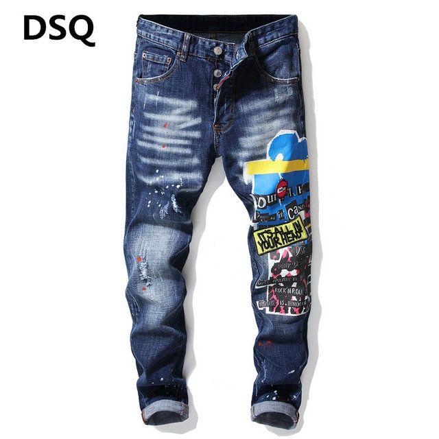 toptan 2020 Yeni Erkek Sıkıntılı Biker Jeans Slim Fit Biker Motosiklet Denim İçin Erkekler Moda Hip Hop Erkek Jeans ~~ F20 Ripped