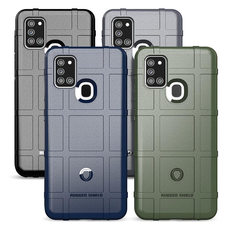 Full Coverage Grid Shockproof Armor Phone Case for Samsung A21S Heavy Duty Army Style Silicone Case