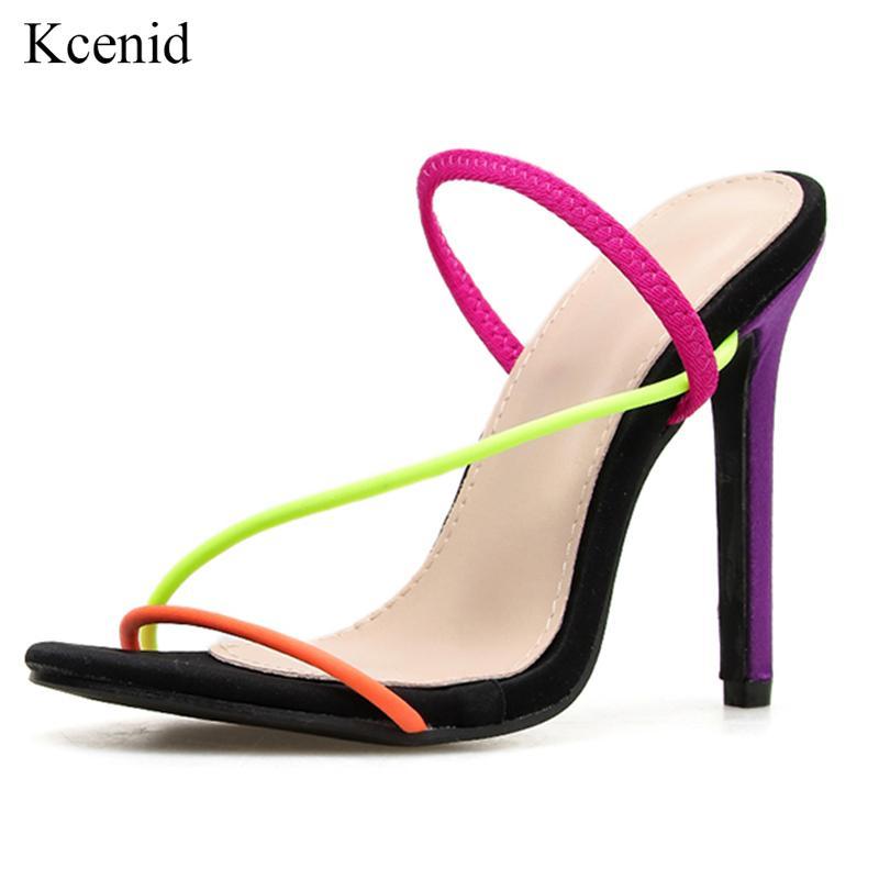 Sandalias Kcenid 2021 Moda Mujer Abierta Summer Sexy Tacones altos delgados Vestido Dama Zapatos Slip en fiesta colorida Talla grande
