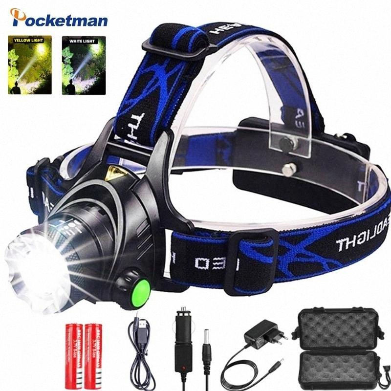Newest Led Headlamp Most Powerful Led Headlight Camping Lamp Head Yellow/White Light Fishing Headlamp Replacement Headlamp Assembly Re iu5u#