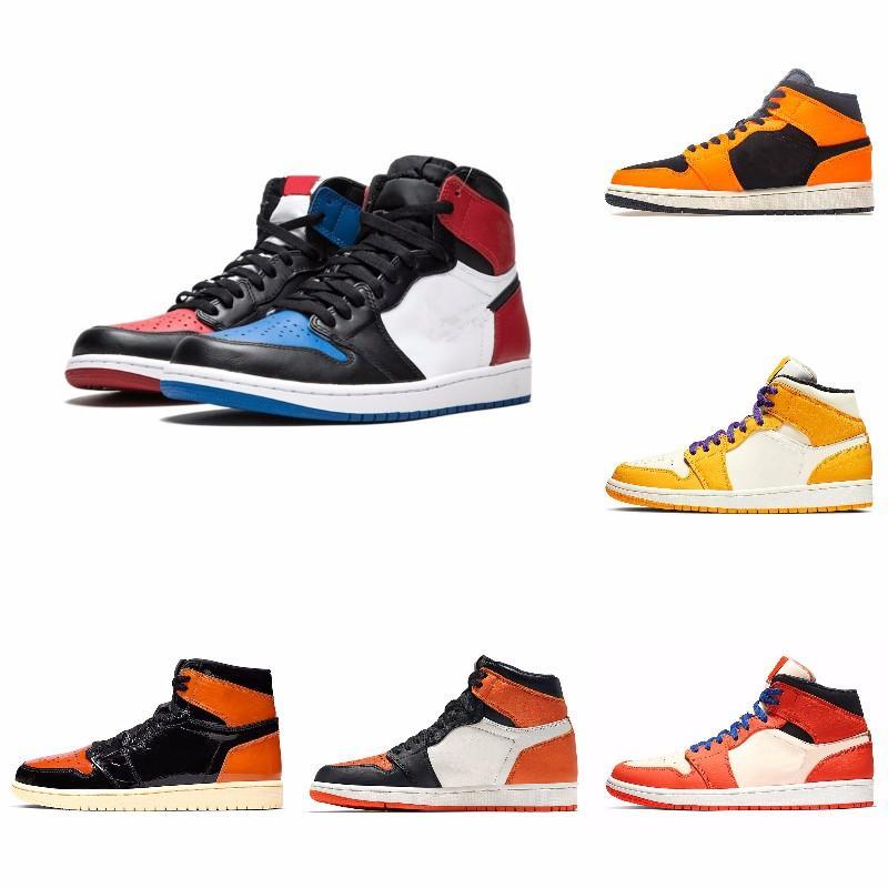 Zapatos OG 1 Top 3 del baloncesto del hombre de trigo de oro del dedo del pie Bred Chicago Prohibido azul real Fragmento UNC zapatillas deportivas formadores zapatos de las mujeres 40-47 Eur
