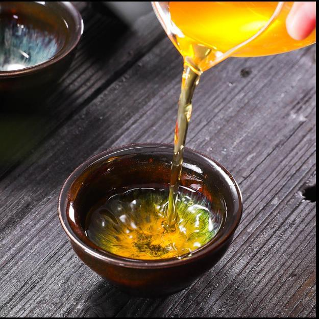 2020 6pcs/set Kung fu tea set Ceramic Tea cup chinese travel set Coffee cups Colorful Tianmu glaze Kiln variable drawingtea cupTeacup