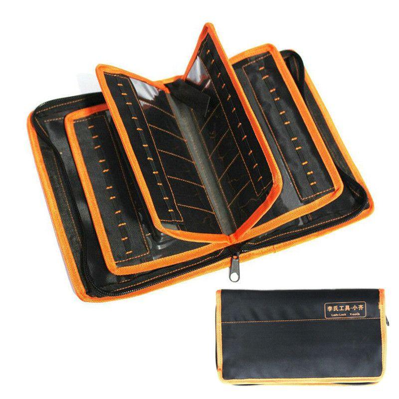 2 in 1 Lishi Aracı Çanta Lishi Aracı Seti için 50 adet Paketlenmiş Olabilir Çilingir Araçları Kalınlaşmak Aracı Saklama Çantası