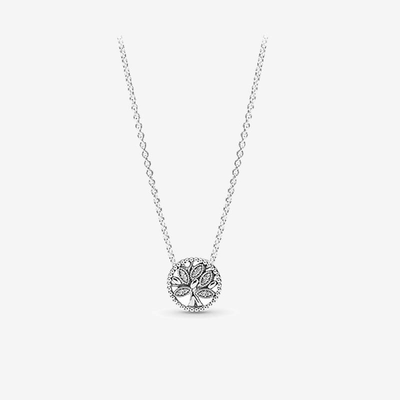 Little Sparkling Family Tree Necklace Cute Women Gift summer Jewelry for Pandora 925 Sterling Silver Chain Necklaces with Original box