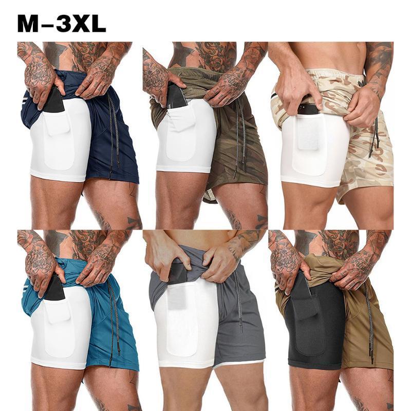 Koşu Şort Erkekler 2-in-1 Egzersiz Spor Kalça Spor Hafif Spor Yoga Eğitim Giyim Kravat Kemer Bel Pantolon