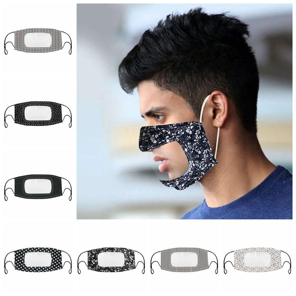 Masque visible bouche visage avec le langage clair Fenêtre lecture labiale sourde anti-poussière réutilisable boucle d'oreille lavable réglable bouche couverture LJJP198