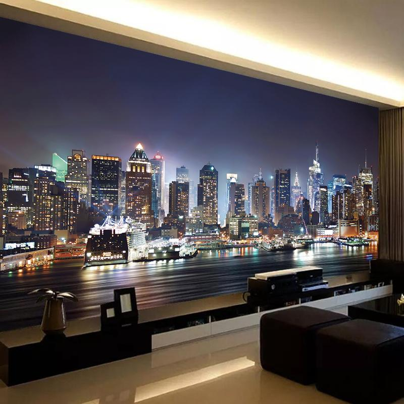 Custom Photo Wall Papers Home Decor City Night View Large Mural Papel De Parede 3D Bedroom Study Room Background Wall Painting
