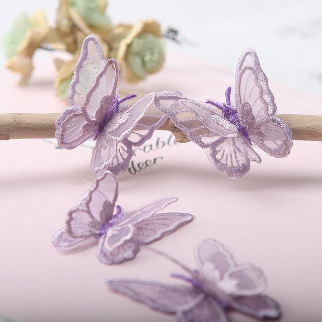 Farfalla patch pizzo 3D tessuto 4PCS / Set ricamo 18 colori Copricapo fai da te Abbigliamento Forniture per cucire Decorare Accessori