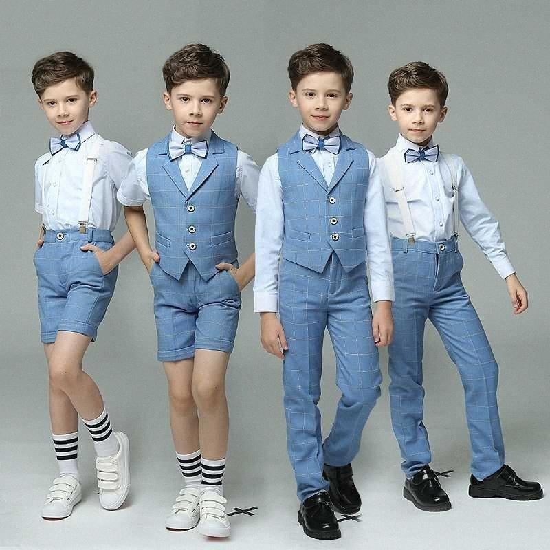 Enfants costume gilet costume garçons ensemble costume formel à double à poitrine enfants rayé veste blazer jeu de mode costume de mariage JUEB #