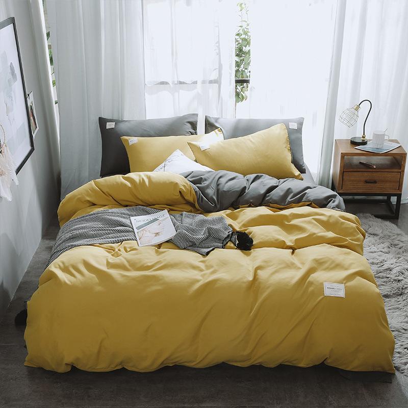 Americano conjunto de quatro peças de cor sólida dupla desenhada de imitação de algodão set estudante cama colcha de terylene têxteis lar
