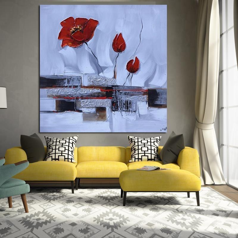 Moderno rojo de las amapolas aceite de la flor Pintura abstracta Retro Pósteres Lienzos Arte Imagen de pared para sala de estar Salón de Decoración