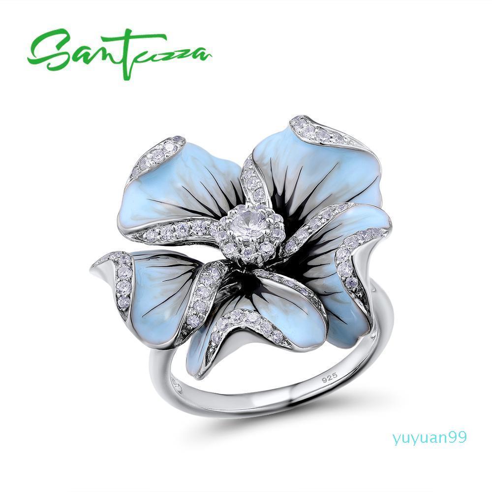 Anello lusso- argento per le donne Blooming Flower Pure 925 Sterling Silver Cubic Zirconia Fairytale Handmade dello smalto Y19052201