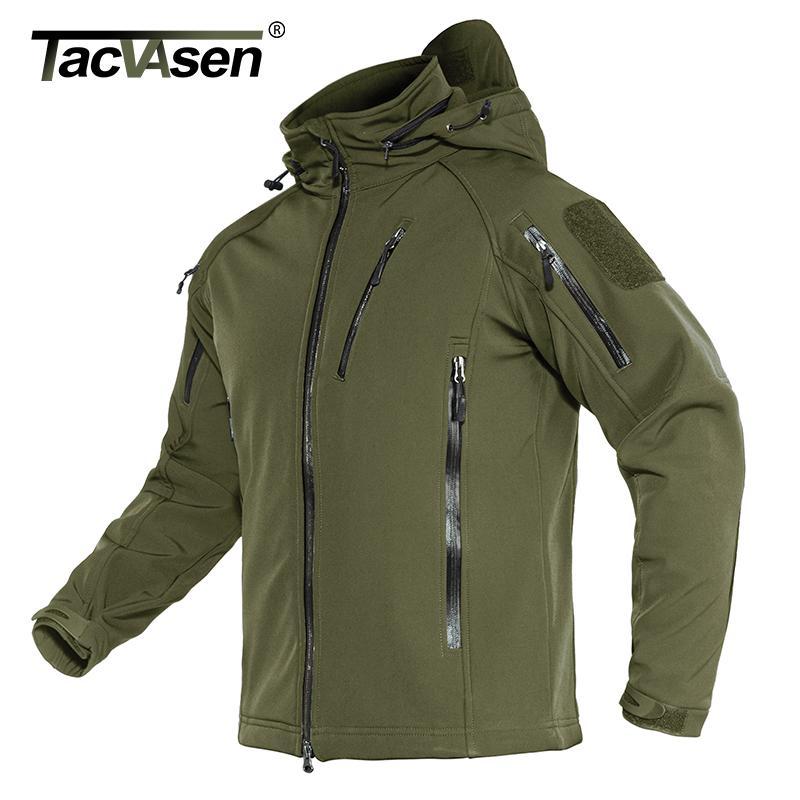 Capa de la chaqueta TACVASEN táctico chaqueta de los hombres de invierno polar con capucha de la guarnición del Ejército de caparazón blando a prueba de viento Asalto Escudo 4XL