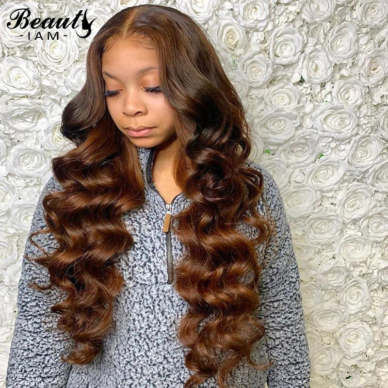 Silk Base 4x4 шнурка Закрытие человеческих волос Парики Бразильская Virgin Brown Объемная волна Glueless парик Pre щипковых с ребенком волос