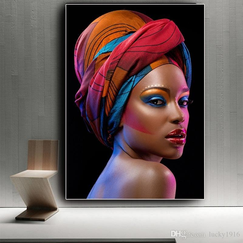 Red Lips Sexy African Woman Portrait Canvas Painting Nude Art Posters Prints Scandinavian Wall Art Picture for Living Room Home Decor