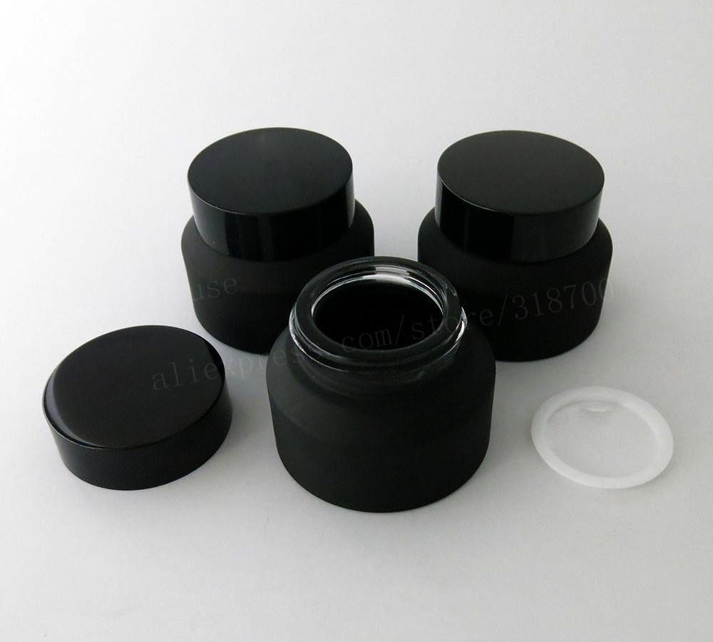 360 x Siyah Kapaklar Beyaz Mühür Ekleme Konteyner Kozmetik Ambalaj ile 15g 30g 50g Frost Siyah Cam Krem Kavanoz