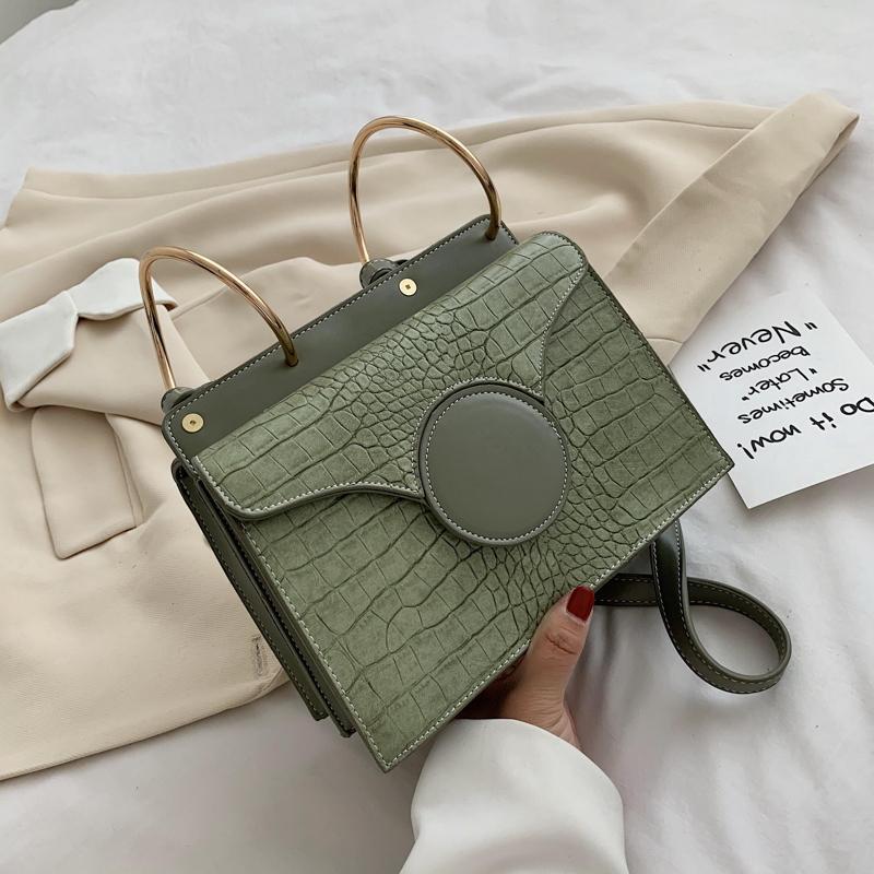 Крокодил шаблон конструкторов-фиолетового Pu кожа Crossbody сумка для женщин 2020 Летних цепей малого плеча сумки для женщин качества Totes сумки