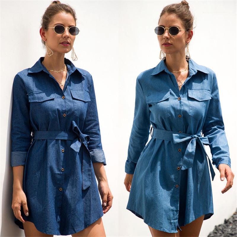 Kemer Mavi Denim Elbiseler Sonbahar İlkbahar Yaka Yaka Uzun Kollu Casual Klasik Bayan Tasarımcı Gömlek Elbise ile