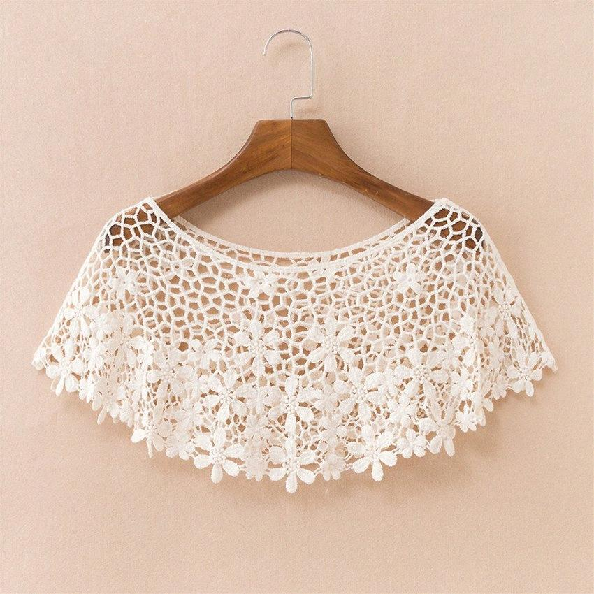 2019 Chic Summer Elegant Women Hollow Out Shawl Capes Lady White Kintted Wraps Lace Wrap Bolero Accessories Beach Coats Tops 712 MBR3#