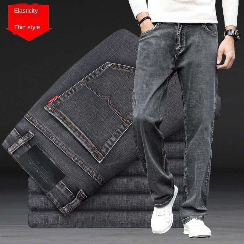 İlkbahar ve yaz erkekler yüksek bel büyük boy siyah duman kot ve düz gevşek kot gri şişman adamı geniş bacak ince geniş pantolon