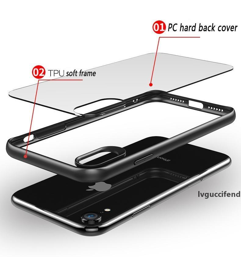 For iPhone x xr xs max 8 7 Plus case Shockproof Soft TPU frame Transparent Tempered Glass phone Case Explosion-proof full Cover