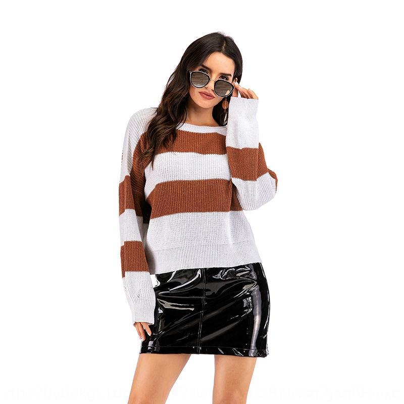 outono e inverno 2020 das mulheres novo tamanho grande casuais solta de Mulheres listradas manga longa exterior Brasão desgaste camisola camisola camisola