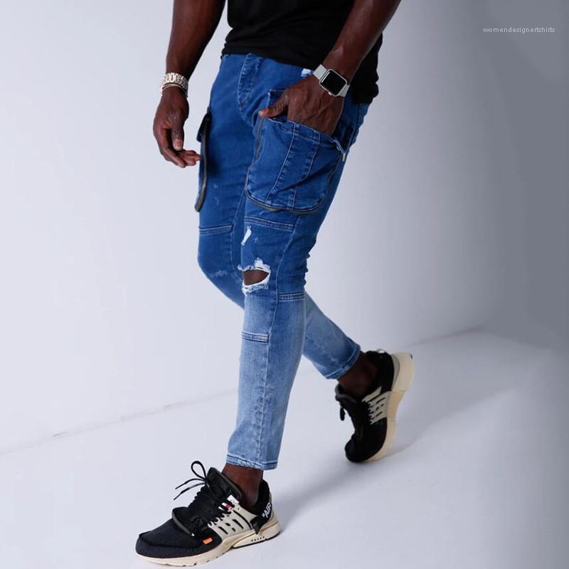 Pantalones vaqueros del diseñador Casual bolsillo multi Rasgado Vaqueros ajustados Hip Hop lápiz de los pantalones de hombre para hombre Gradiente