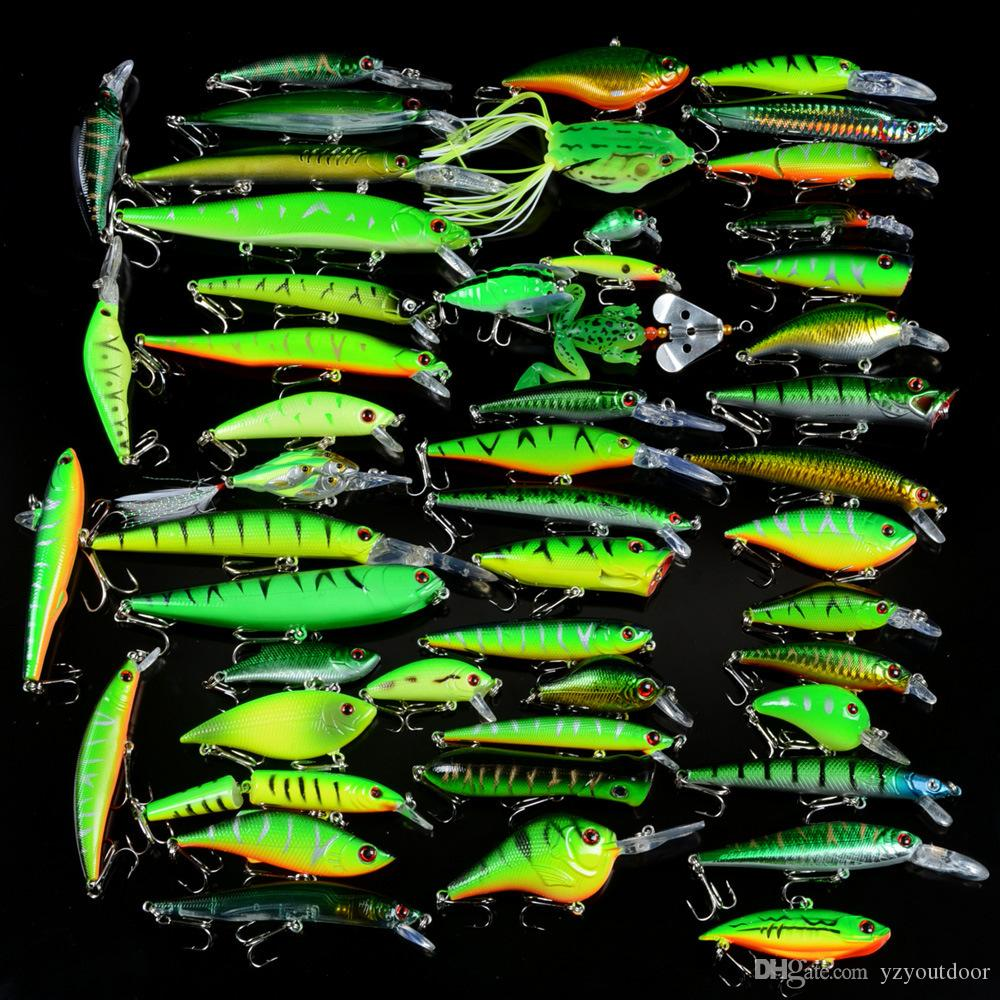 New 50pcs /Set Fishing Lures Mixed 50 Varisized Minnow Crank Vib Popper Lure And Rubber Soft Bass Spinnerbait Spoon Fish Tackle
