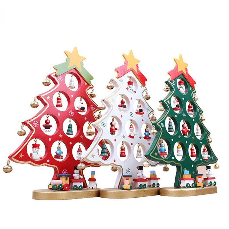 DIY Cartoon Wooden Christmas Tree Decoration Christmas Gift Ornament Table Desk Decoration New Year Xmas Supplies