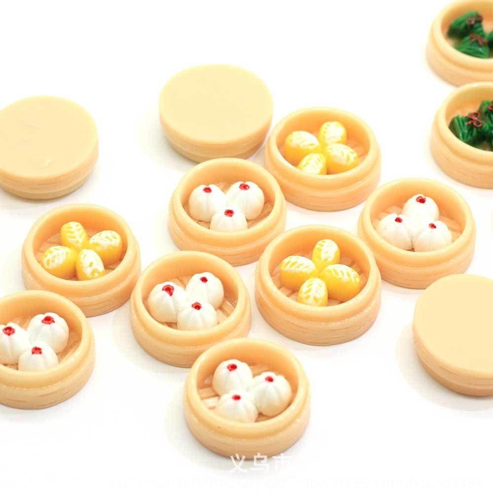 HGqtS creativo comer simulación y pastelería de juego Pequeño Bricolaje mano al vapor del bollo de desayuno pendientes hechos a mano muñeca de DIY miniatura de la casa scen