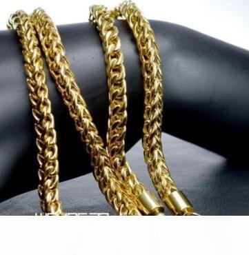 N304-14K tono de oro de acero inoxidable joyería collar de cadena de 60 cm de longitud; 6mm Widt banda