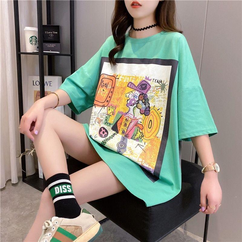 gdY0c femmes T-shirt de coiffure Coiffe à manches courtes peinture 2020 été nouveau T-shirt grand graffiti couleur assortie haut mi-longueur de FiTJ5