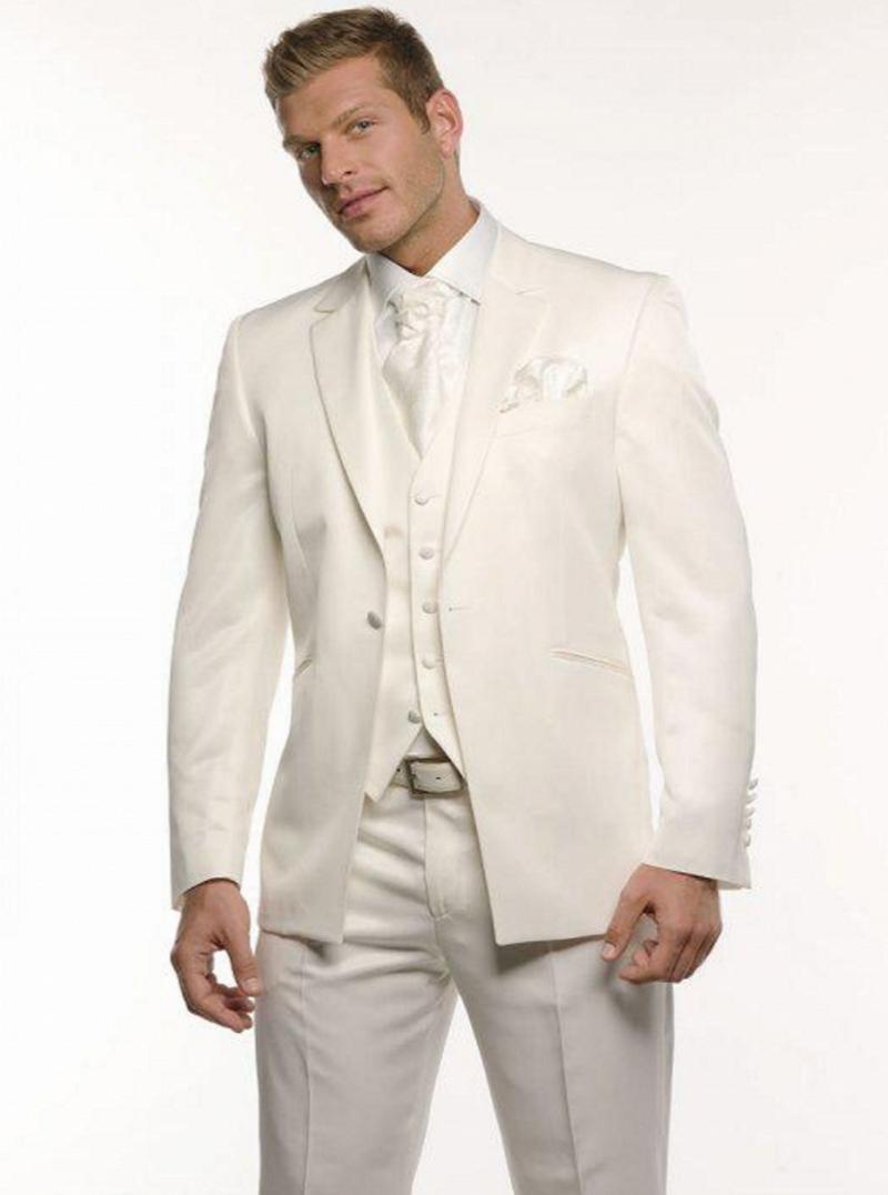 Custom Made New Ivoire smokings marié mariage Groomsman costume peau Groomsman Epoux (veste + pantalon + Gilet)