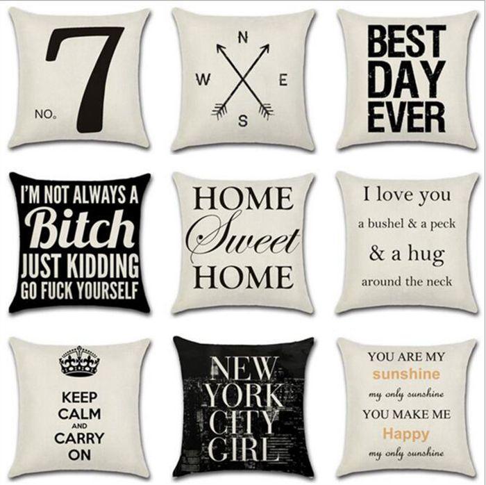 Letter Decorative Pillow Case Geometric Dot Wave Cross Cushion Cover for Sofa Seat Xmas Home Decor Black White YW67