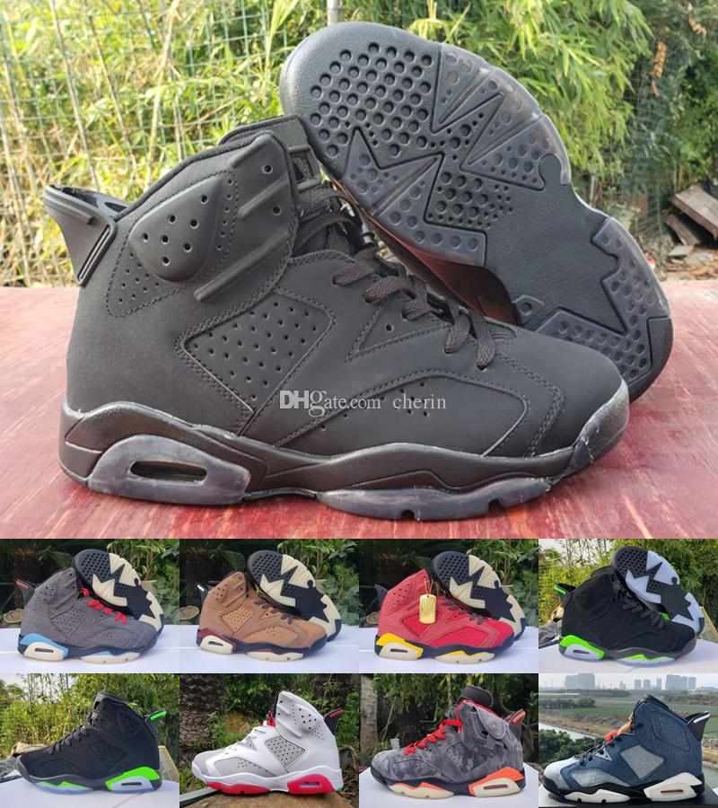 New 6 6s Jumpman basketball shoes Washed Denim Series Hare Black Infrared UNC mens sneakers trainers Size 40-47
