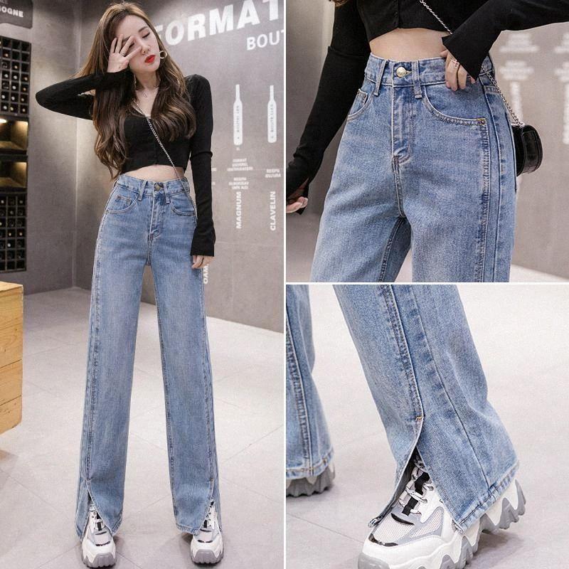 Primavera 2020 nuova vita alta a livello sottile fessura dei jeans straig Pantaloni a gamba a gamba larga cascante pantaloni pavimento sentimento tendenza H1uQ #