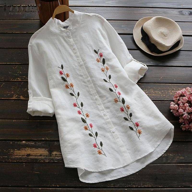 ZANZEA Frauen Stickerei Bluse Kaftan T-Shirts Weibliche Revers Blumen Blusas Weibliche beiläufige Knopf Tunika Plus Size Tops 5X