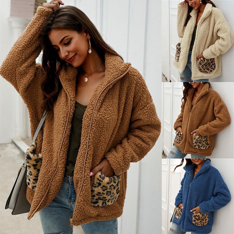 디자이너 원래 모피 옷 팜므 가을 겨울 두꺼운 여성 패션 스웨터 위에 랩 울 가디건 목도리 코트 재킷 따뜻한 레오파드 캐주얼