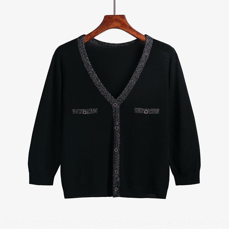 Verano protector solar hielo cosechado ropa de seda ultra-delgada de prendas de punto de manga corta de seda de metal de tejidos de punto de las mujeres FhLae