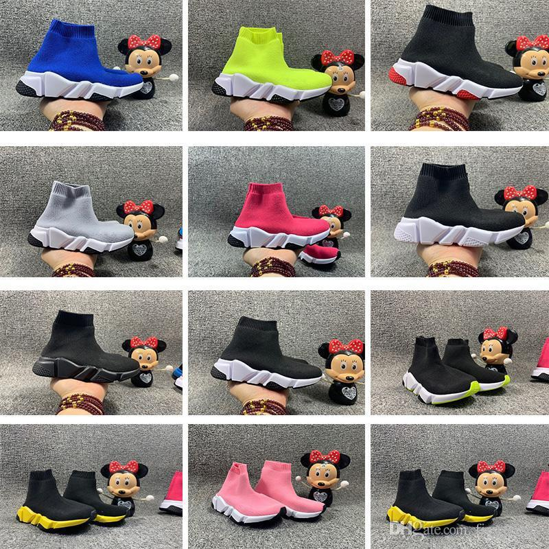 Kids Girls Boys Runners Sport Sock Shoes Knitted Trainers Flat Sneakers Speed UK