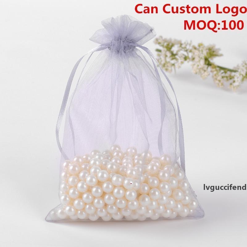 Al por mayor-13x18cm gris joyería del organza bolsas de regalo Pequeño lazo bolsas bolsos del caramelo del partido Customed logotipo impreso 100pcs / lot