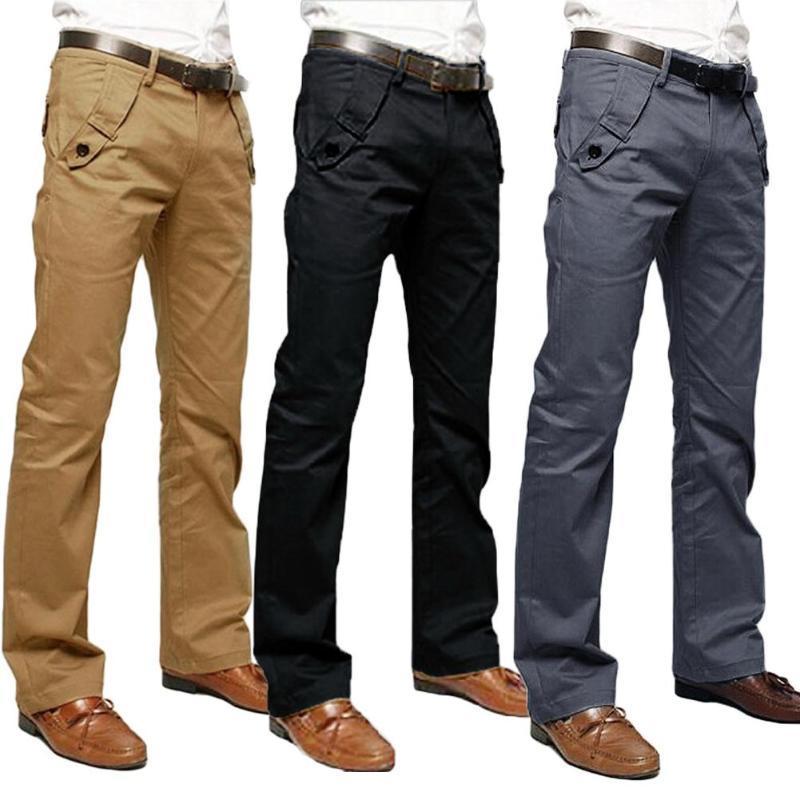 Офис Men Casual Solid Color Карманы Хлопок Длинные прямые штаны Тонкий брюки Кнопка