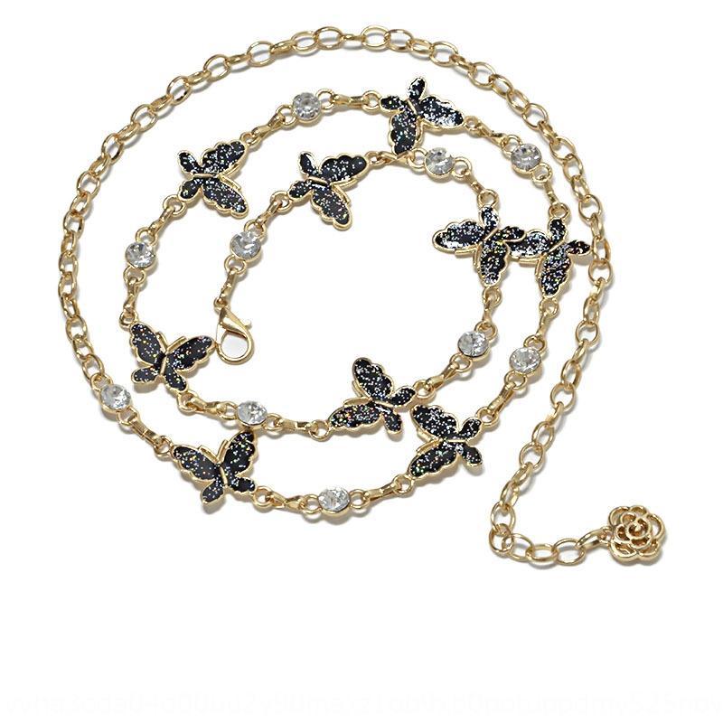 papillon simple papillon rose taille or chaîne femmes ceinture jupe décorative style coréen accessoires sexy 1gl3G métal tout match Wom 5NqOM
