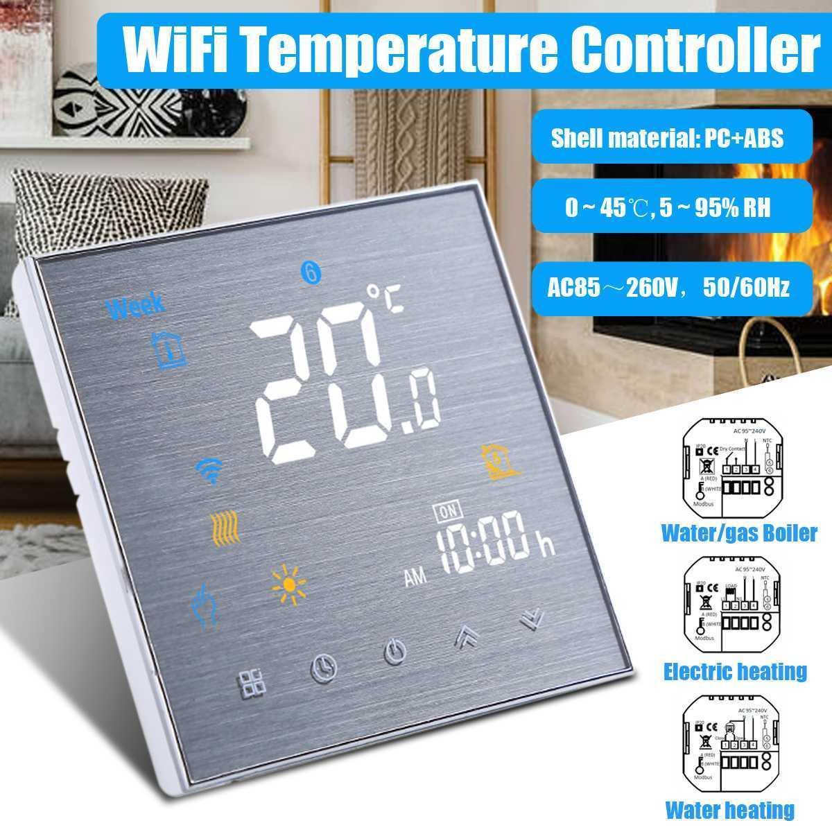 Alexa Google Ana Su / Elektrik zemin Isıtma / Kombi Work WiFi Akıllı Termostat Sıcaklık Kontrolörü