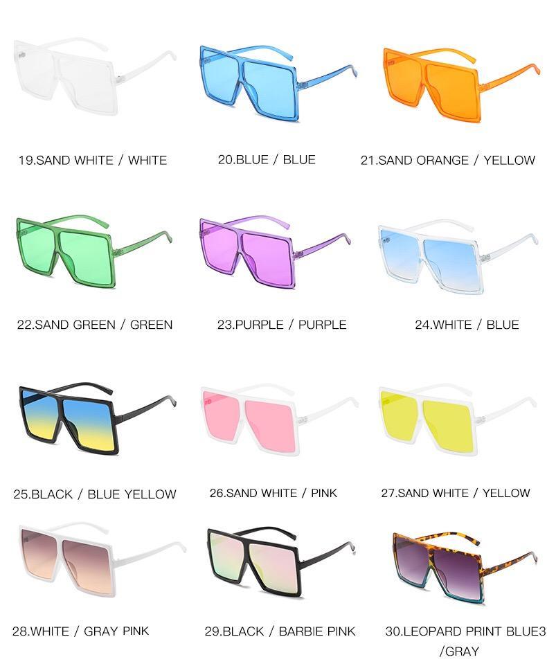 Couleurs chaudes 30 Vente Cadre Square Square Overdized Lunettes Dames Plastique Charnière Sunglasses Metal Soleil Fashion Cadre TRSCC