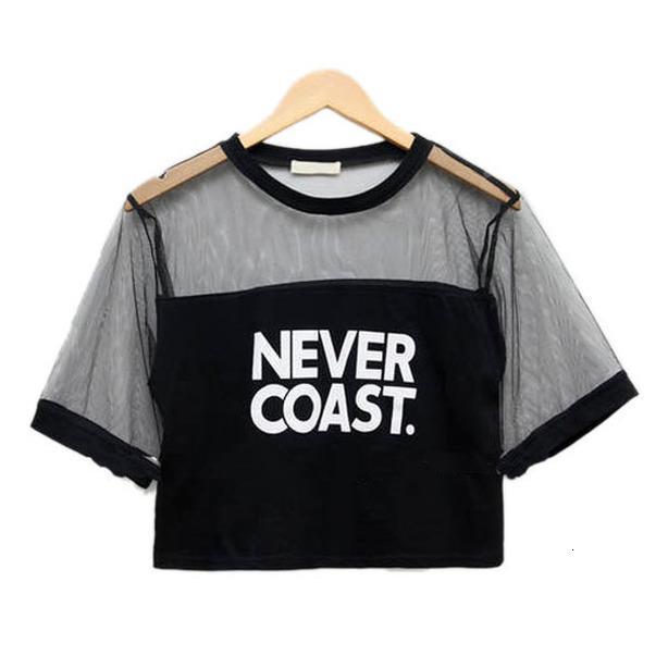 Повседневный Женщины See Through Crew Neck коротким рукавом Свободные Crop футболки Горячие продажи 2020 падение груза