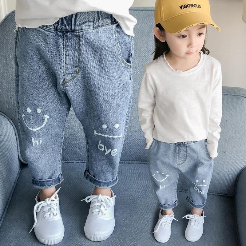 cuwEw Meninas Jeans Jeans calças calcinha calcinha outono 2019 calças coreano novas crianças para crianças 1 pequenas e médias crianças pan 5 bebê