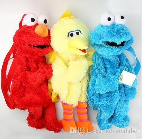 45cm Sesame street Elmo Cookie Series Backpack Plush Bags Cartoon Stuffed Fluffy School Backpacks Unisex New